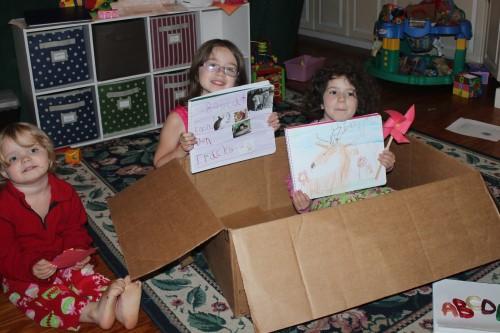Oak Meadow Students Show Off Artwork in Cardboard Boxes