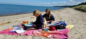 High School Oak Meadow students studying on beach